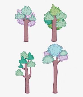 Définir des arbres avec des feuilles dans l'aventure en forêt