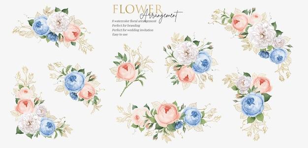Définir l'arrangement de bouquet floral avec des feuilles d'or