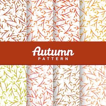 Définir l'arrière-plan de l'automne brindille feuille modèle sans couture
