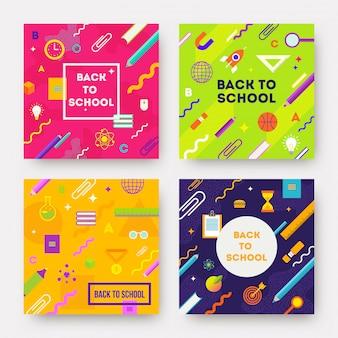 Définir des arrière-plans abstraits colorés avec objet scolaire et fournitures.
