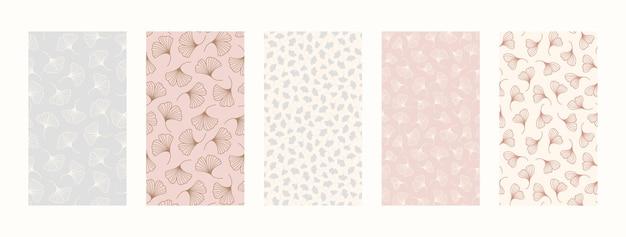 Définir des arrière-plans avec des éléments floraux. fonds d'écran mobiles abstraits dans un style tendance minimaliste pour les histoires de médias sociaux. illustration vectorielle dans des couleurs pastel rose et bleu