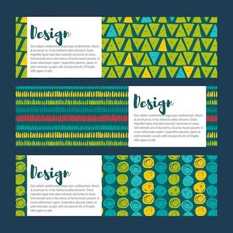 Définir les arrière-plans hipster vecteur dans les bleus et les verts. style dessiné à la main