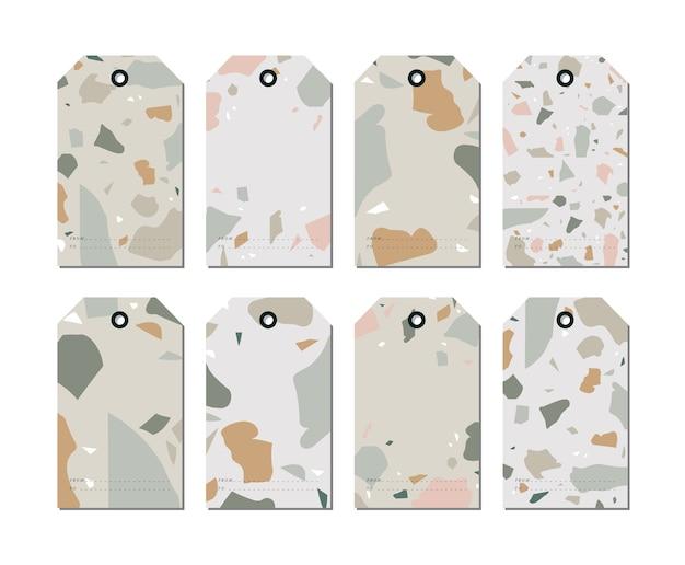 Définir des arrière-plans de modèles colorés de conception. étiquettes de motifs terranzzo sertie de fragments de roche colorés.