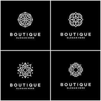 Définir l'art de la ligne de conception de logo fleur collection.