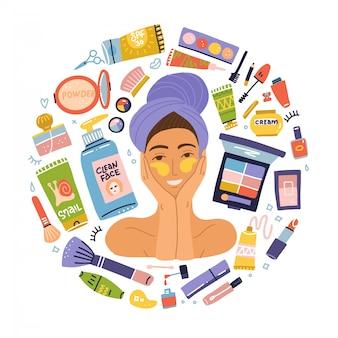 Définir les articles de maquillage cosmétiques. portrait jeune femme avec des patchs. produits d'hygiène plats. fille se brosser avec une serviette sur la tête. concept de mode de vie sain
