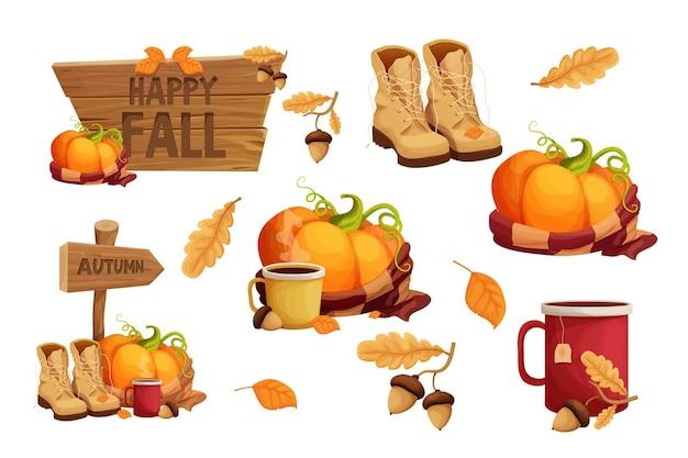 Définir des autocollants d'automne avec une tasse d'écharpe chaude de citrouille avec un gland et des feuilles de panneau en bois de bottes