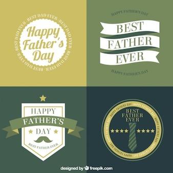 Définir des badges de la fête des pères dans la conception plate et style vintage