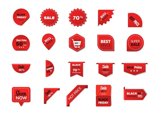 Définir des badges vendredi noir offre spéciale vente promo marketing vacances shopping