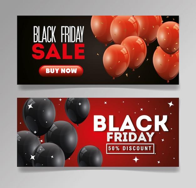 Définir bannière vendredi noir avec ballons décoration à l'hélium