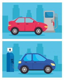 Définir la bannière, voitures de véhicules électriques dans la route de la station de charge