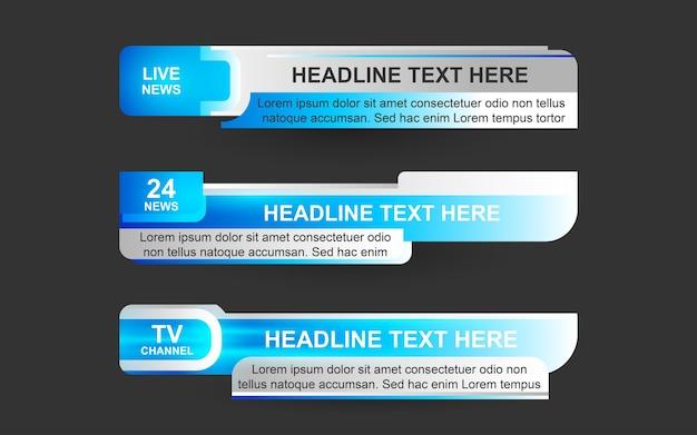 Définir des bannières et des tiers inférieurs pour la chaîne d'information en bleu et blanc