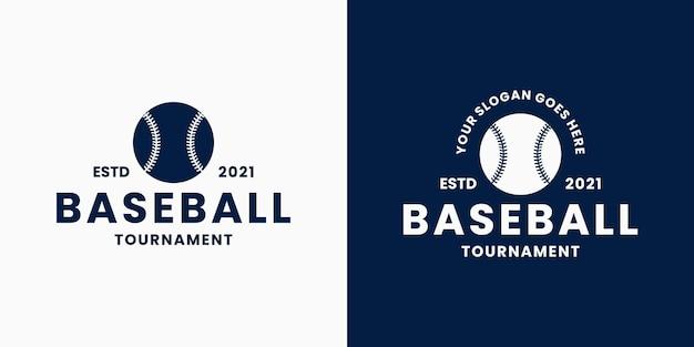 Définir le baseball avec un badge de conception de logo de balle pour le sport