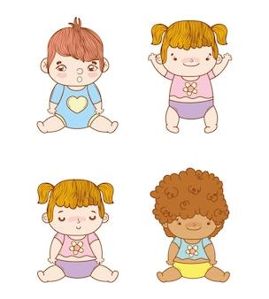 Définir des bébés spéciaux avec une coiffure et une couche