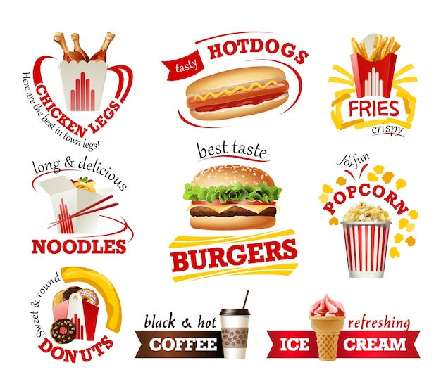 Définir de belles icônes de dessin animé de fast food