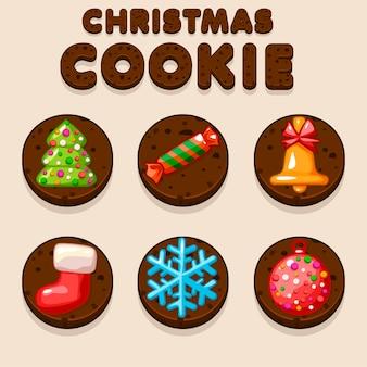 Définir des biscuits de noël de dessin animé, des icônes de nourriture de biscuit