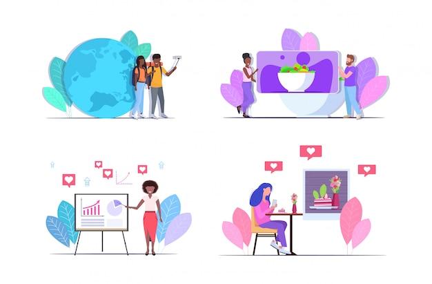 Définir les blogueurs enregistrant des vloggers vidéo en ligne faisant le streaming en direct diffusé sur les réseaux sociaux concept de blogage horizontal