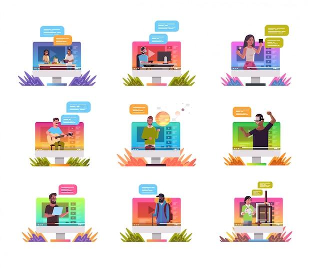 Définir les blogueurs enregistrer des vloggers vidéo en ligne en streaming en direct diffuser les réseaux sociaux concept de blogging moniteur d'ordinateur portrait d'écran