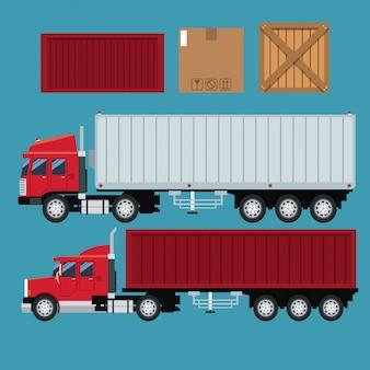 Définir la boîte en carton de transport de livraison de conteneur de remorque