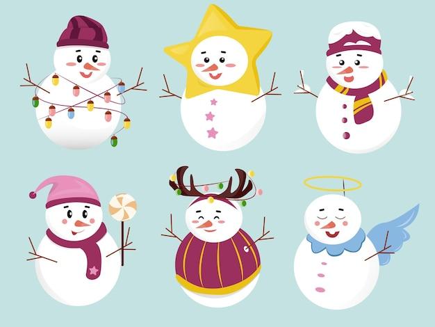 Définir des bonhommes de neige de noël de dessin animé