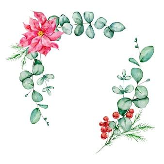 Définir le bouquet de noël avec poinsettia d'eucalyptus et branche d'épinette et illustration aquarelle de houx