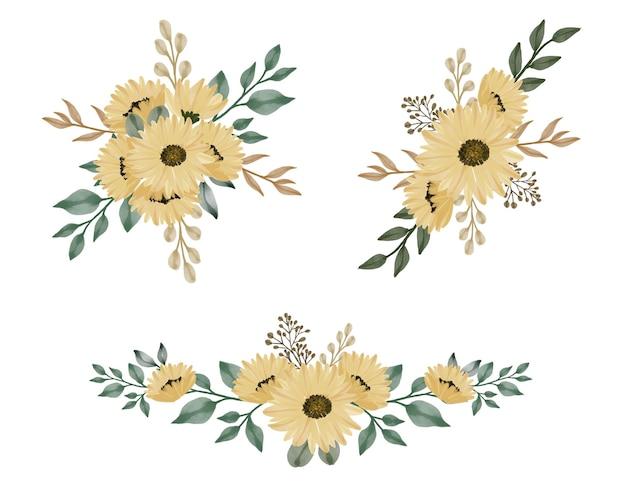Définir des bouquets de fleurs de soleil aquarelle
