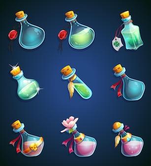 Définir des bouteilles de dessin animé alchimique.