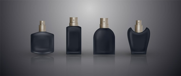 Définir des bouteilles de parfum réalistes