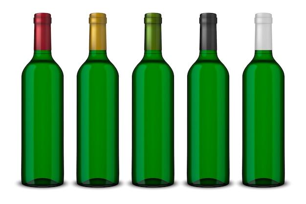 Définir des bouteilles vertes réalistes de vin sans étiquettes isolées
