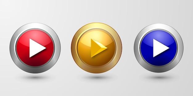Définir le bouton de lecture brillant 3d