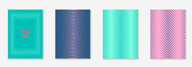 Définir la brochure. affiche rétro, invitation, cahier, maquette d'écran mobile. rouge et vert. définir la brochure comme couverture tendance minimaliste. élément géométrique de ligne.