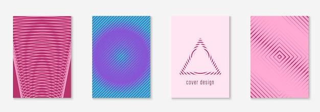 Définir la brochure. multipliez le dépliant, la bannière, le certificat, la maquette du rapport. violet et turquoise. définir la brochure comme couverture tendance minimaliste. élément géométrique de ligne.