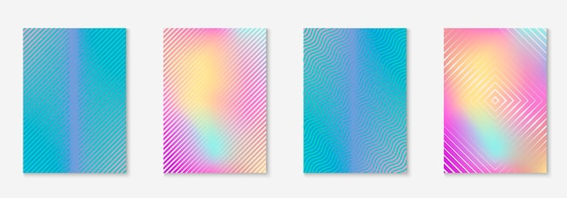 Définir la brochure. papier peint en plastique, rapport annuel, présentation, maquette de certificat. holographique. définir la brochure comme couverture tendance minimaliste. élément géométrique de ligne.