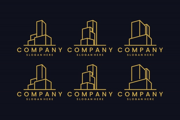 Définir le bureau du bâtiment avec inspiration de conception de logo de ligne concept