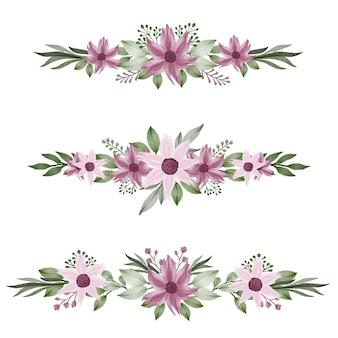 Définir un cadre de fleur aquarelle de rose pour les voeux et l'invitation de mariage