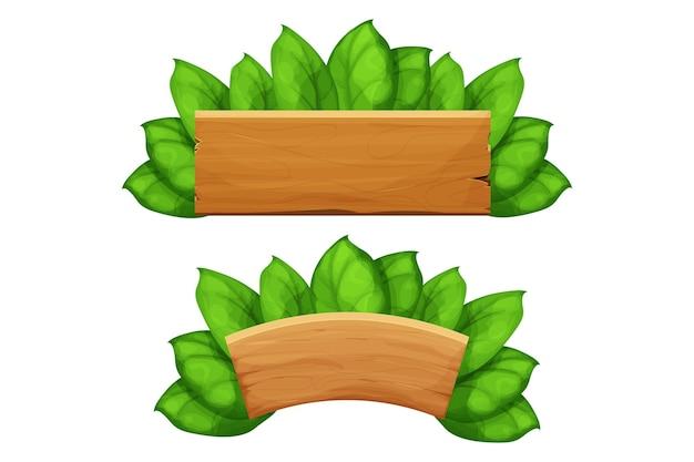 Définir des cadres de panneau d'affichage en planches de bois avec des feuilles de décoration de jungle exotique dans un style dessin animé