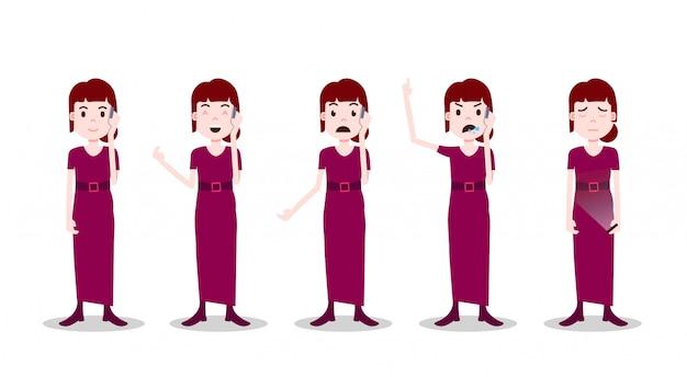 Définir le caractère de l'adolescente différentes poses et émotions robe rouge appel téléphonique femelle