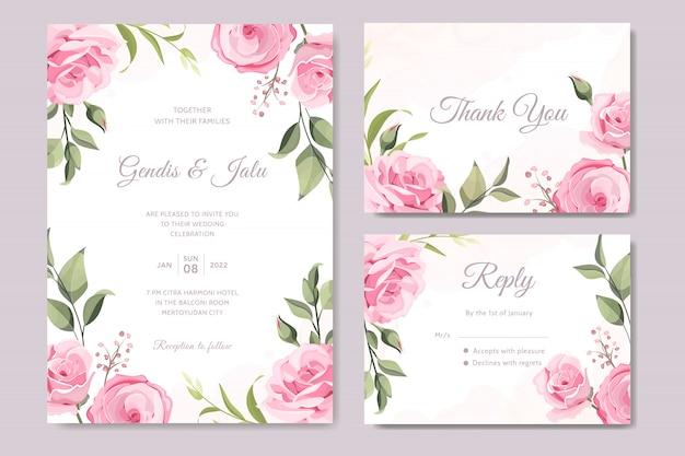 Définir une carte de mariage élégante avec de belles fleurs et feuilles