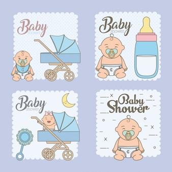 Définir des cartes de douche de bébé avec de mignons petits bébés