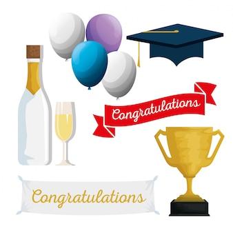 Définir casquette de graduation avec des ballons et du champagne à l'événement