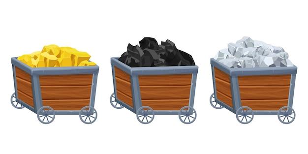 Définir un chariot de mine en bois avec de l'or argenté et des minéraux de minerai de charbon en style cartoon