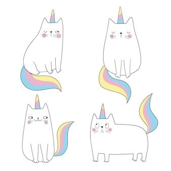 Définir les chats licorne chat drôle comme licorne croire en la magie illustration vectorielle drôle