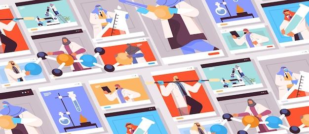 Définir des chercheurs arabes travaillant avec des tubes à essai dans des fenêtres de navigateur web, des scientifiques réalisant des expériences chimiques en laboratoire