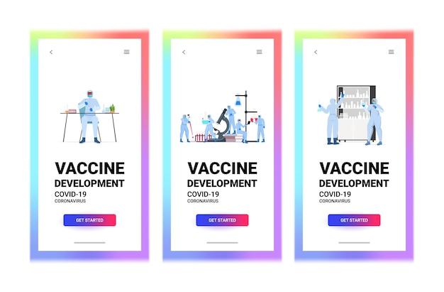 Définir des chercheurs scientifiques travaillant avec des tubes à essai dans le développement de vaccins de laboratoire contre le coronavirus lutte contre le concept covid-19 illustration vectorielle de l'espace de copie horizontale