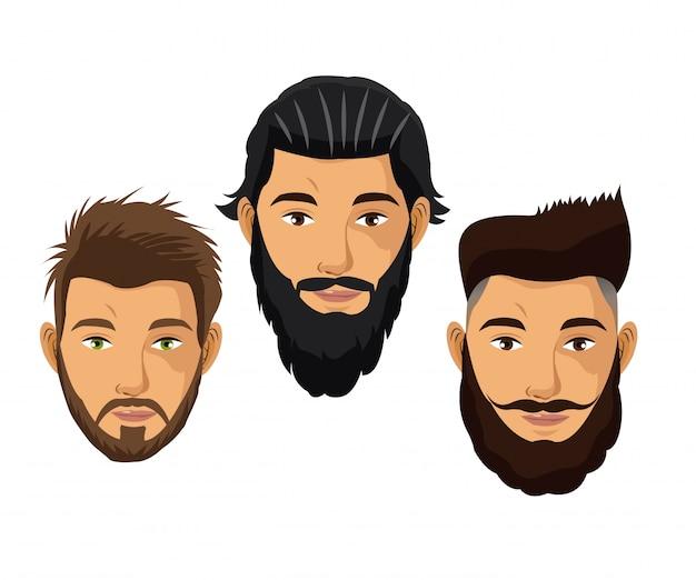 Définir les cheveux de l'homme portrait et le modèle de la barbe