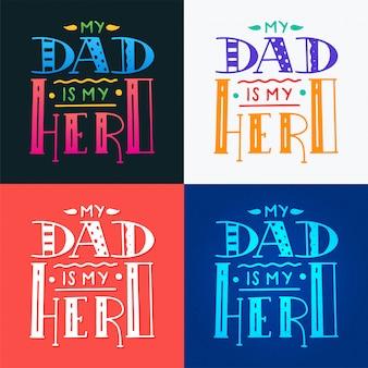 Définir la citation de doodle super héros papa dans le style manuscrit.