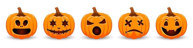 Définir les citrouilles sur fond blanc citrouille orange avec le sourire pour les vacances happy halloween