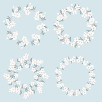 Définir la collection de cadres floraux. motif rond camomille et myosotis
