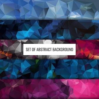 Définir la collection de conception de fond de polygone de couleur abstraite