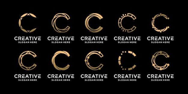 Définir la collection de conception de logo monogramme bundle lettre initiale c avec un concept unique vecteur premium