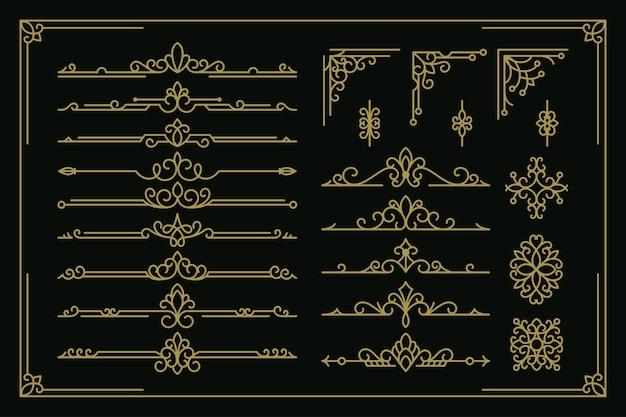 Définir la collection de décoration d'ornement vintage de vecteur